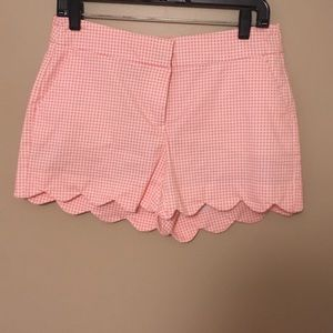 Scalloped Hem Gingham Shorts